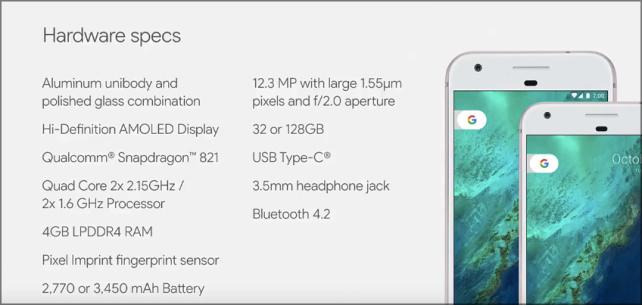 Google Pixel and Pixel XL Specs